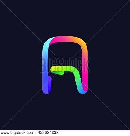 A Letter Logo Made Of Multicolor Gradient Neon Line. Vector Bright Icon For Multimedia Labels, Night