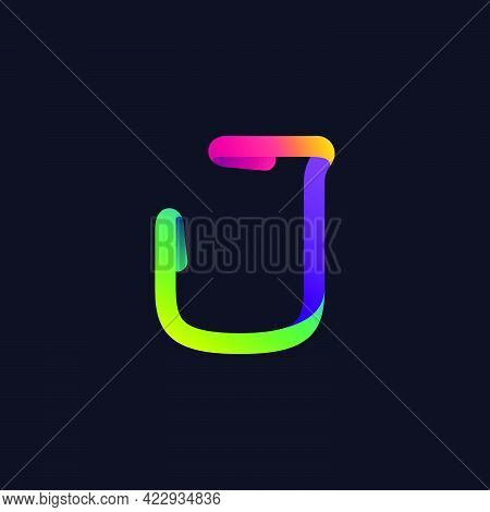 J Letter Logo Made Of Multicolor Gradient Neon Line. Vector Bright Icon For Multimedia Labels, Night