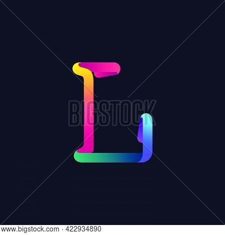 L Letter Logo Made Of Multicolor Gradient Neon Line. Vector Bright Icon For Multimedia Labels, Night