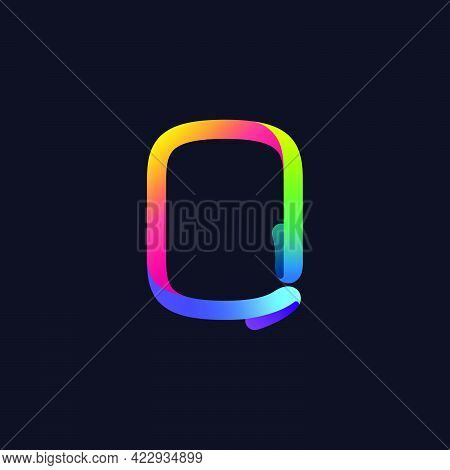 O Letter Logo Made Of Multicolor Gradient Neon Line. Vector Bright Icon For Multimedia Labels, Night