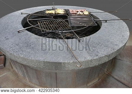 Volcanic Barbecue Setting In Lanzarote, Part Of The Canary Islands In Spain