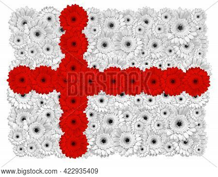 England Flag Made Of Gerbera Flowers, Isolated On White