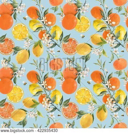 Beautiful Vector Seamless Pattern With Watercolor Hand Drawn Citrus Orange Lemon Grapefruit Fruits.