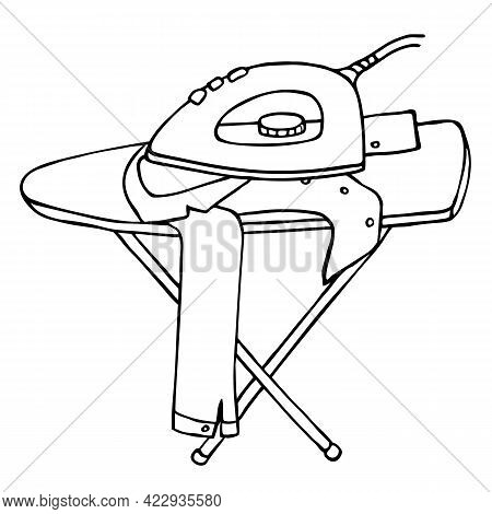 Electric Iron And Shirt On Ironing Board. Black Outline Isolated On White Background. Appliance, Hou