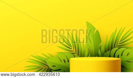 Yellow Product Podium With Paper Cut Monstera Leaf On Yellow Background. Modern Mockup Template For