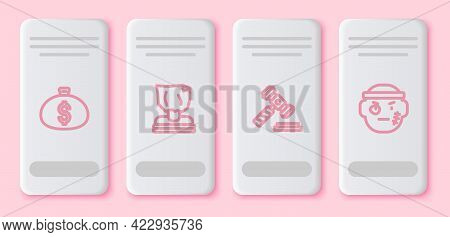 Set Line Money Bag, Kidnaping, Judge Gavel And Bandit. White Rectangle Button. Vector