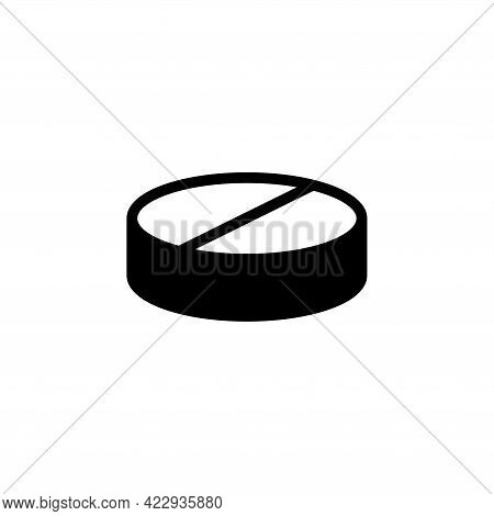 Aspirin Medical Pill, Painkiller Tablet. Flat Vector Icon Illustration. Simple Black Symbol On White