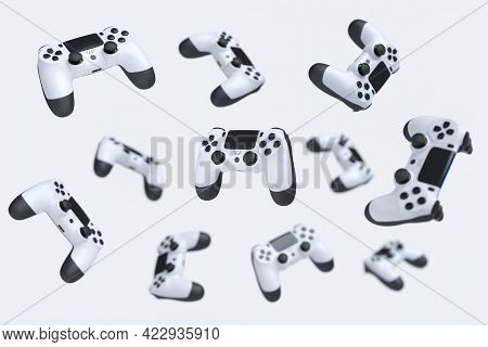 Flying Gamer Joysticks Or Gamepads On White Background. 3d Rendering Of Accessories For Live Streami