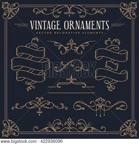 Ribbons, Decorative Borders, Dividers, Flourishes, Frame. Vector Vintage Ornaments. Set Of Golden De