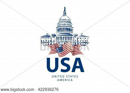 Vector Sign White House Usa Hand Drawn