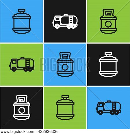 Set Line Propane Gas Tank, And Tanker Truck Icon. Vector