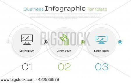 Set Line Computer Monitor Screen, Lan Cable Network Internet And . Business Infographic Template. Ve