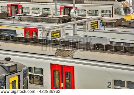 Liege, Belgium, June 2021: Belgian Nmbs Railroad Trains In A Train Station. Close-up And Detail.