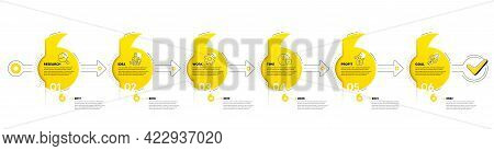 Quotation Bookmarks Timeline With Icons. 6 Steps Journey Path Of Business Project Process. Infograph