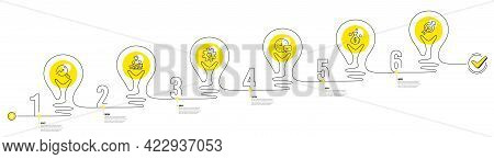 Continuous Line Timeline With Lamp Light Bulbs Icons. 6 Steps Idea Journey Path Of Business Project