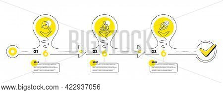 Timeline With Lamp Light Bulbs And Icons. 3 Steps Idea Journey Path Chart Of Business Project Proces