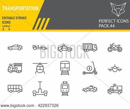Transportation Line Icon Set, Transport Collection, Vector Graphics, Logo Illustrations, Vehicles Ve