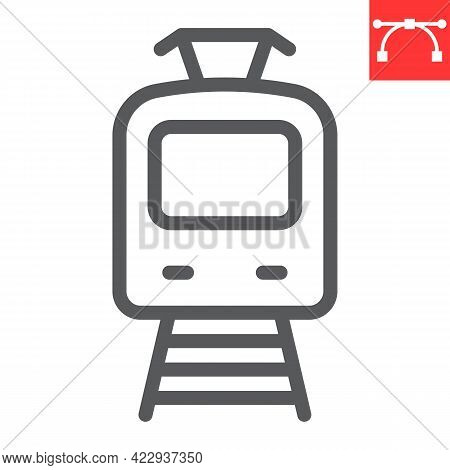 Tram Line Icon, Transportation And Vehicle, Tramway Vector Icon, Vector Graphics, Editable Stroke Ou