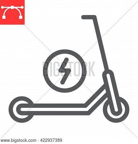 Electric Scooter Line Icon, Transportation And Vehicle, Scooter Vector Icon, Vector Graphics, Editab