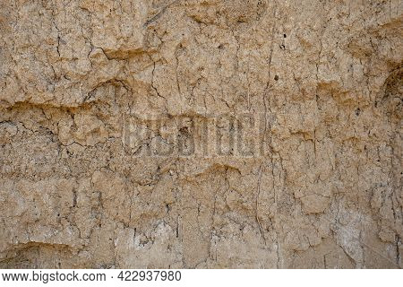 Brown Clay Wall. Clay Surface Texture, Background For Wallpaper.