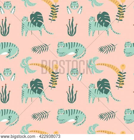 Pink Tiger Seamless Pattern. Blue Tiger On Pink Background, Jungle Leaves. Summer Tropical Print.