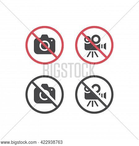No Camera And No Video Red Prohibition Sign. No Photographing Or Filming Icon.