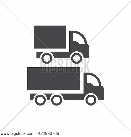 Truck Or Lorry Black Vector Icon. Glyph Cargo Symbol Set.