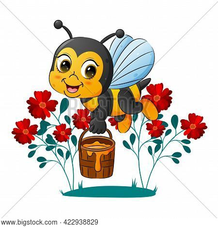 The Cute Bee Is Holding A Pail Of Honey In The Garden Of The Illustration
