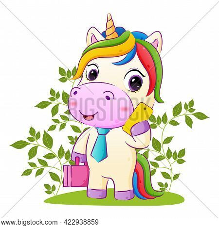 The Happy Unicorn Is Holding A Suite Bag And Phone In The Garden Of The Illustration