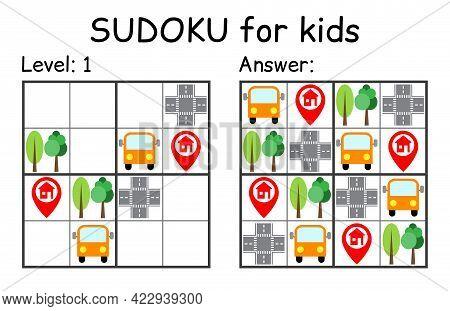 Sudoku. Kids And Adult Mathematical Mosaic. Kids Game. Road Theme. Magic Square. Logic Puzzle Game.