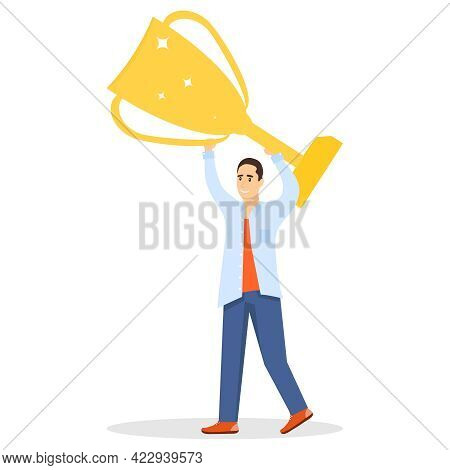 The Winner Man Holds A Trophy In His Hands. A Man Holds A Gold Cup In His Hands. Vector Illustration