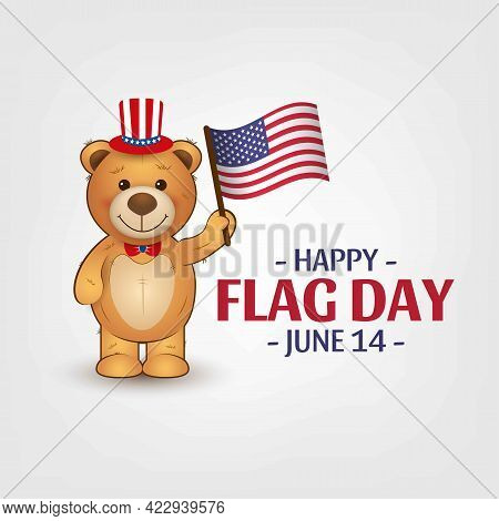 Cute Teddy Bear With American Flag.happy Flag Day. Patriotic National Design. 14 June. Independence
