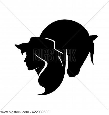 Beautiful Cowgirl Wearing Cowboy Hat And Horse Head Black And White Vector Silhouette Design