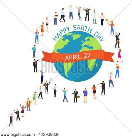 Earth Day, A Group Of People In The Shape Of A Magnifying Glass Protects The Earth. Vector Illustrat