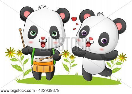 The Couple Musician Panda Play The Drum And Dancing With The Melody In The Park Of The Illustration
