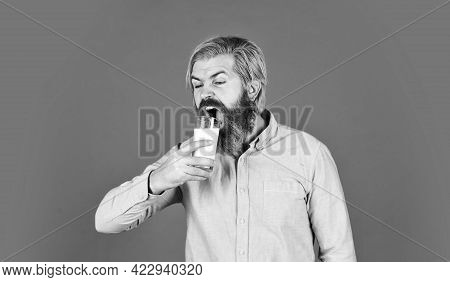 Useful Replacement Meat And Milk Is Soy. Happy Farmer Present Milk Glass. Bearded Man Drink Useful M
