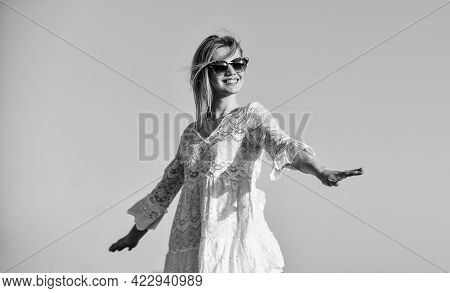 Girl White Dress Feel Free. Leisure And Rest. Summer Relax. Sunny Day. Carefree Girl. Pretty Woman F