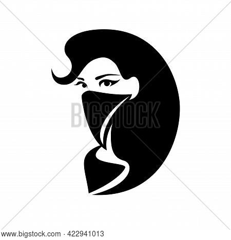 Beautiful Bandit Woman With Long Hair Wearing Scarf Covering Her Face - Female Wild West Style Crimi