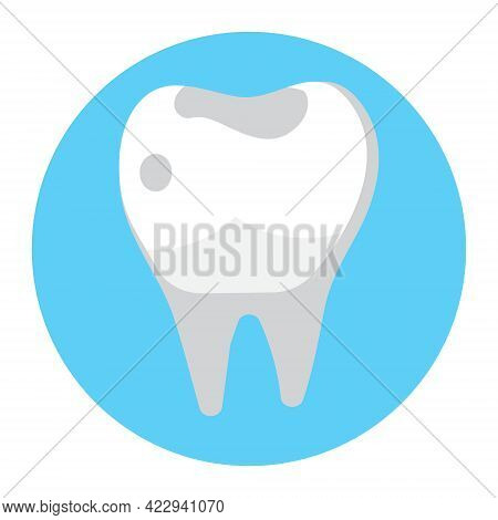 Caries, Tartar Or Tooth Cyst Treatment Icon Vector. Dental Crown