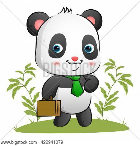 The Tidy Panda With The Bright Tie Is Holding A Suite Case And Walking In The Garden Of The Illustra