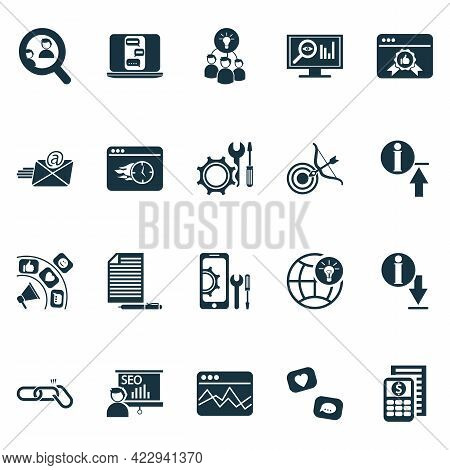 Analytics Icons Set With Copywriting, Seo Monitoring, Targeting And Other Aim Elements. Isolated Vec