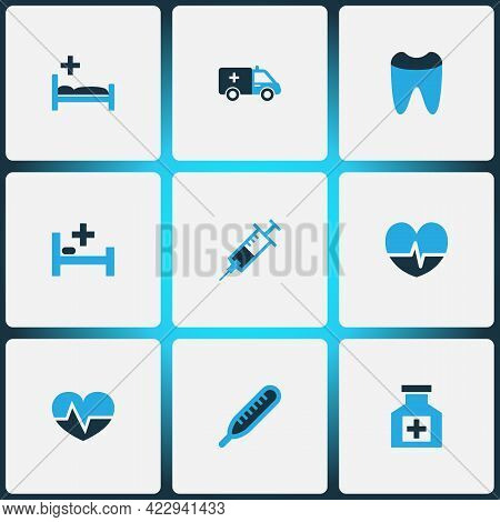 Drug Icons Colored Set With Heartbeat, Cure, Syringe And Other Dental Elements. Isolated Vector Illu