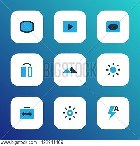 Photo Icons Colored Set With Slideshow, Effect, Vignette And Other Frame Elements. Isolated Vector I