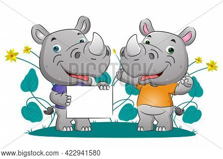 The Couple Of Smart Rhino Explaining Something While Holding The Blank Banner Of The Illustration