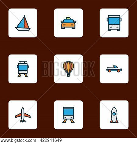 Shipment Icons Colored Line Set With Balloon, Pickup, Airplane And Other Aircraft Elements. Isolated