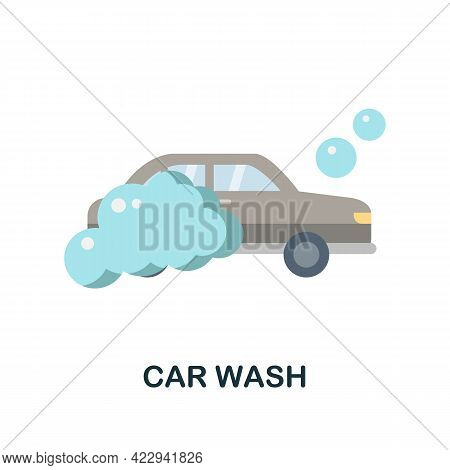 Car Wash Flat Icon. Color Simple Element From Car Servise Collection. Creative Car Wash Icon For Web