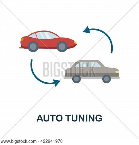 Auto Tuning Flat Icon. Color Simple Element From Car Servise Collection. Creative Auto Tuning Icon F