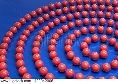 A Thread With Red Plastic Beads Is Wrapped In A Spiral. Bijouterie. Minimalist Style. 3d Illustratio