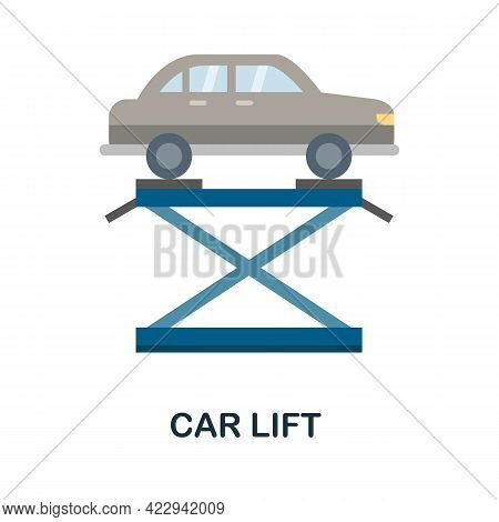 Car Lift Flat Icon. Color Simple Element From Car Servise Collection. Creative Car Lift Icon For Web
