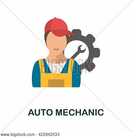 Auto Mechanic Flat Icon. Color Simple Element From Car Servise Collection. Creative Auto Mechanic Ic